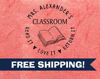 Custom Teacher Stamp, Classroom Library Stamp, Personalized Teacher Stamps, Self-inking  Classroom Stamps, Librarian Stamps