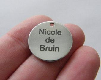 BULK 10 Custom made laser engraving - you choose the words tag charm 20mm stainless steel TAG9