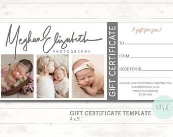 Photographer Gift Certificate Template. Gift Card. Gift Certificate. Newborn Photography. Printable Template. Photoshop template. Printable.