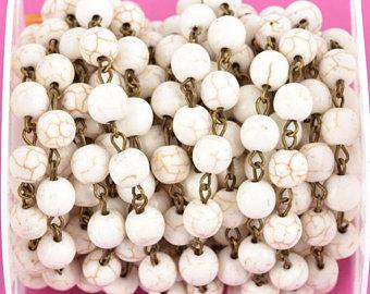 3 feet (1 yard) WHITE Howlite Rosary Chain, bronze links, 8mm round stone beads, fch0613a