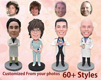 Doctor custom bobbleheads, doctor gift, gift for doctor, medical school graduation, doctor graduation gift, funny doctor gift
