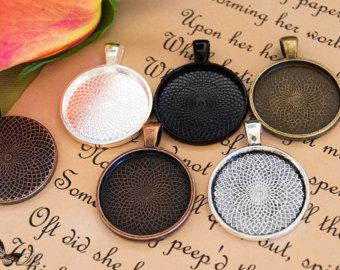 50- Cabochon Settings - Pendant Trays - Round Bezel Tray Blanks - 1 Inch 25mm Circle blank Pendant Trays - Round Cabochon Settings