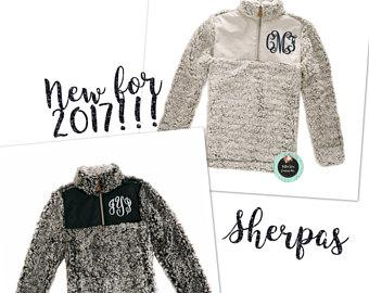 SHERPA Pullover Personalized-monogrammed sherpa -personalized sweatshirt-sorority pullover-true grit sherpa - frosted sherpa - grey sherpa