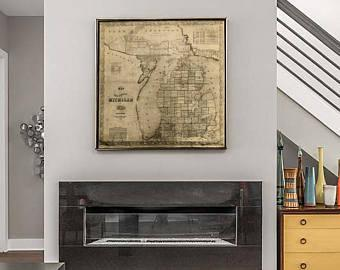 Vintage Michigan map vintage 1856 old map of Michigan Old Antique Restoration Hardware Style wall Map Lake Michigan map Fine Art Map gift