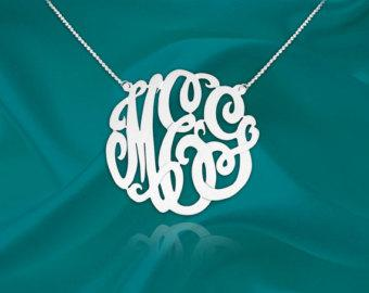 Monogram Necklace - 1 inch Sterling Silver Handcrafted - Personalized Monogram - Initial Necklace - Made in USA