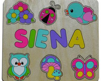 Natures Wonders Wooden Personalized Name Puzzle Birthday Gift, Child's Toy, Personalized, Mushroom, Owl, Butterfly, Bird 237393055