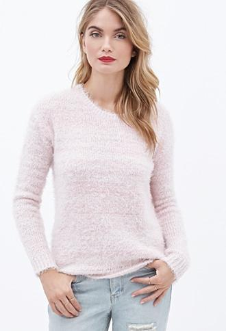 Contemporary Abstract-Stripe Fuzzy Sweater