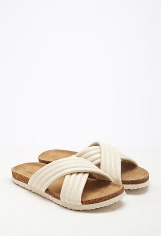 Ribbed Faux Leather Sandals