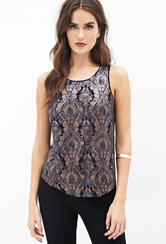 Contemporary Sequined Damask Tulip-Back Top