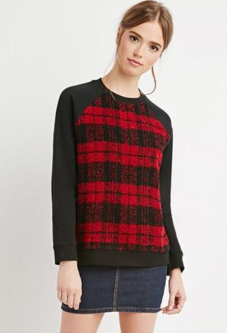 Fuzzy Plaid Paneled Sweatshirt