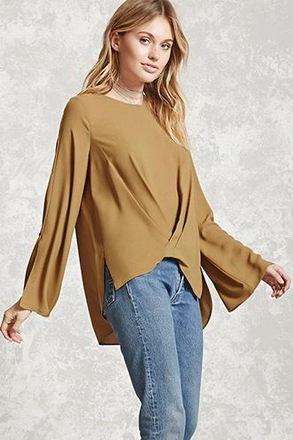 Pleated-Front Top