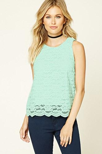 Contemporary Lace Overlay Top