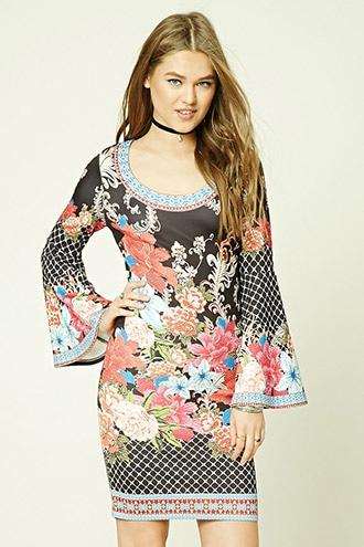 Ornate Bell-Sleeve Dress