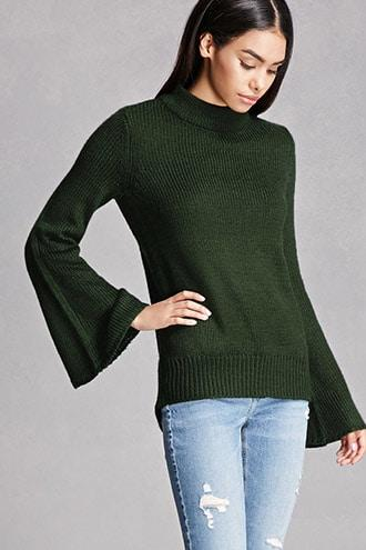 High-Neck Bell-Sleeved Sweater