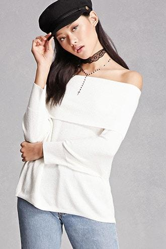 Folded Off-the-Shoulder Sweater