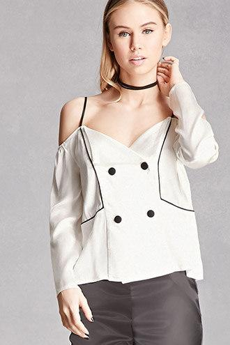 Line and Dot Open-Shoulder Top