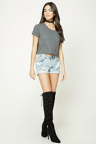 Distressed Holes Cropped Tee