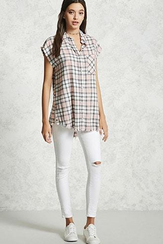 Frayed Plaid Buttoned Shirt