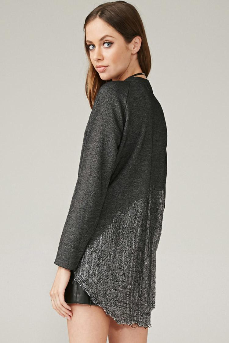 Marina T. Marled Loose Knit-Paneled Top