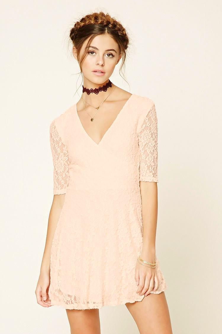 Floral Lace Surplice Dress
