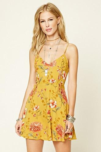 Floral Print Lace-Up Mini Dress