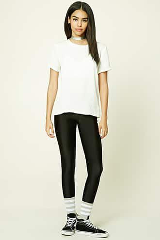 Satin Paneled Boxy Tee