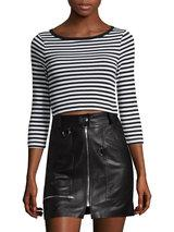 Three Dots - Cotton Striped Crop Top