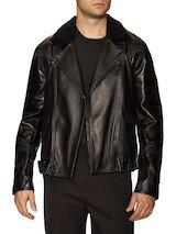 3.1 Phillip Lim - Leather Shearling Collar Motorcycle Jacket