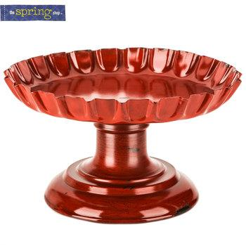 Red Bottle Cap Metal Pedestal Tray