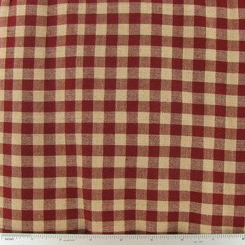 Red Rustic Woven Plaid Cotton Calico Fabric