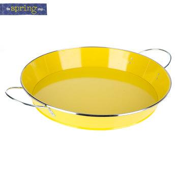 Yellow Metal Tray with Handles