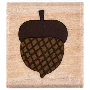 Single Acorn Rubber Stamp