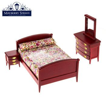 Miniature Mahogany Bedroom Set with Floral Bedding