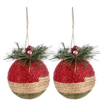 Red, Brown & Green Rope Ball Ornaments