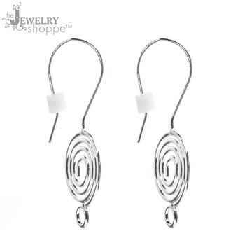 Silver Plated Swirl Ear Wires - 31mm