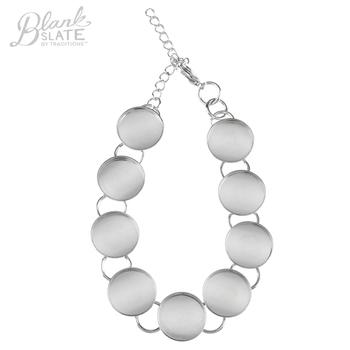 Silver Bracelet with Round Bezels - 15mm