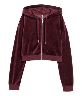 Cropped Hooded Velour Jacket