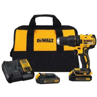 DEWALT 20-Volt MAX Lithium-Ion Cordless Brushless Compact Drill Driver with (2) Batteries 1.5Ah, Charger and Bag