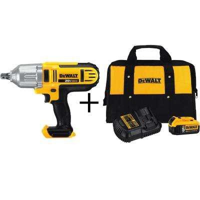 DEWALT 20-Volt Max Lithium-Ion 1/2 in. Cordless High Torque Impact Wrench with Detent Pin with Bonus 5.0 Ah Battery Kit