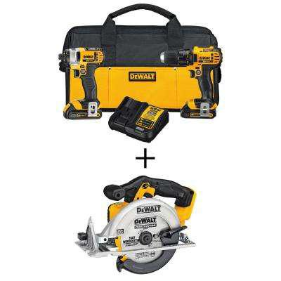 DEWALT 20-Volt MAX Lithium-Ion Cordless Drill/Driver Combo Kit (2-Tool) with Bonus Bare 6-1/2 in. Cordless Circular Saw