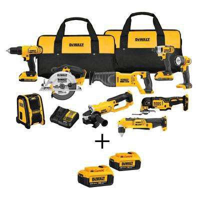 DEWALT 20-Volt MAX XR Lithium-Ion Cordless Combo Kit (9-Tool) with Bonus Battery 2-Pack