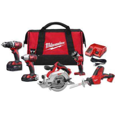 Milwaukee M18 18-Volt Lithium-Ion Cordless Combo Kit (5-Tool) w/ (2) Batteries, Charger, Tool Bag