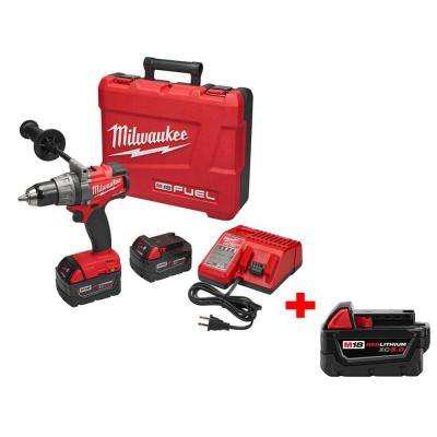 Milwaukee M18 FUEL 18-Volt Lithium-Ion Brushless 1/2 in. Cordless Drill/Driver Kit with Free M18 18-Volt XC 5.0Ah Battery