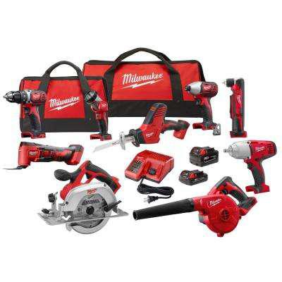 Milwaukee M18 18-Volt Lithium-Ion Cordless Combo Kit (9-Tool) w/(2) Batteries, Charger, (2) Tool Bag