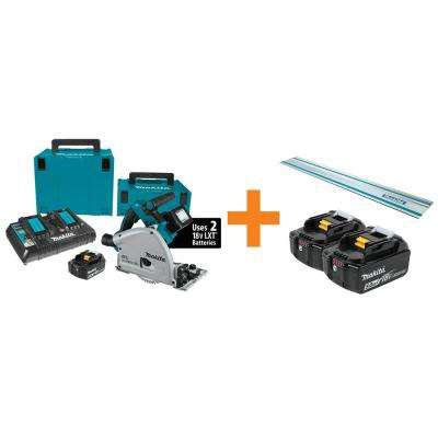 Makita 18V X2 LXT Lithium-Ion (36V) Brushless Cordless 6-1/2 in. Plunge CircularSaw Kit w/BONUS 5.0Ah Battery 2Pk and GuideRail