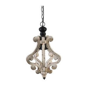 Bella Wood and Metal Pendant Light, Ivory