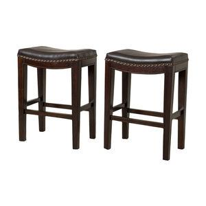 Jaeden Bar Stools, Set of 2, Brown Leather