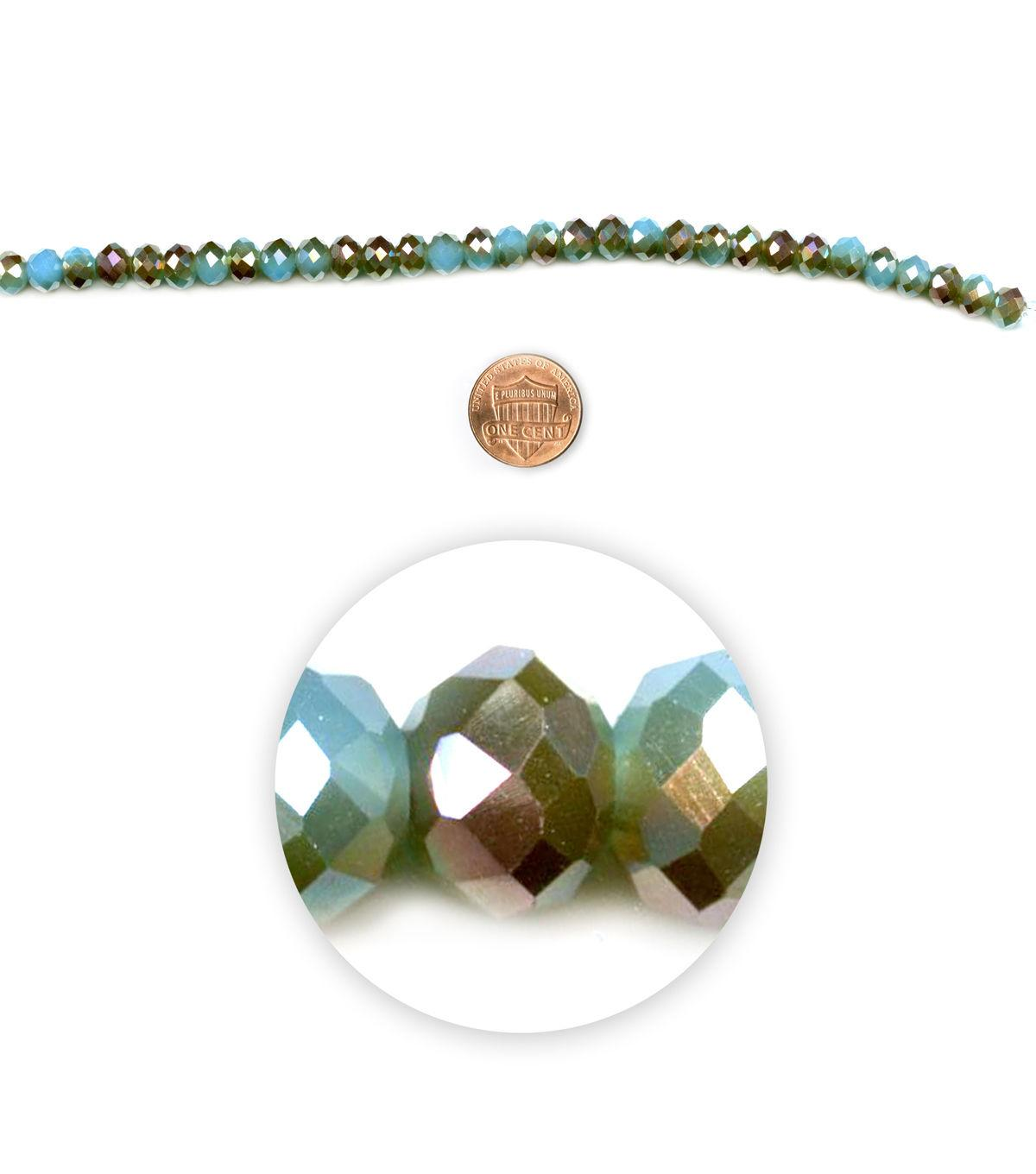 Blue Moon Beads 7 Strand 6x8mm Fire-Polished Rondelle, Turquoise/Brown