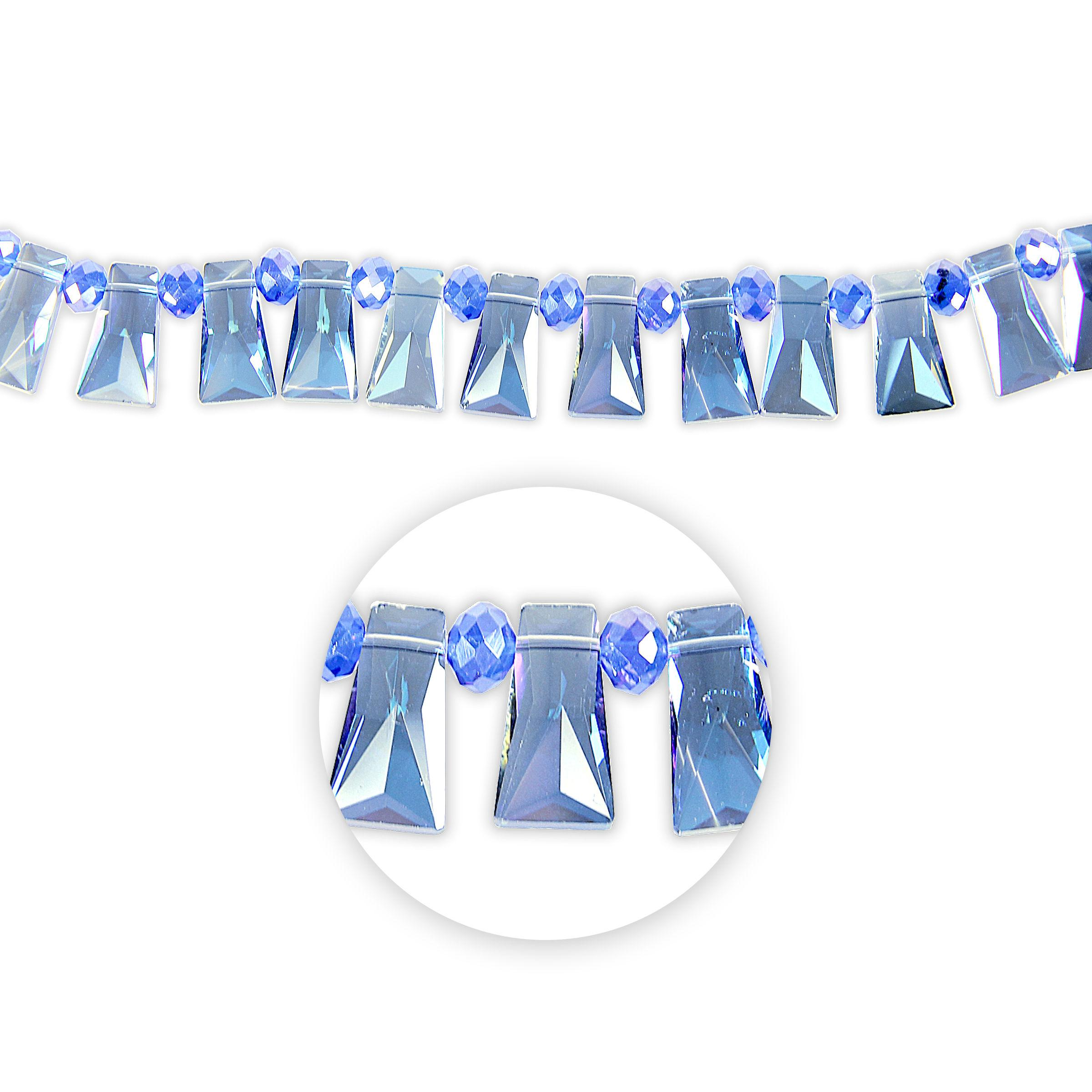Blue Moon Beads Strand 7 Cut Crystal Trapezoid, Blue AB Facetted