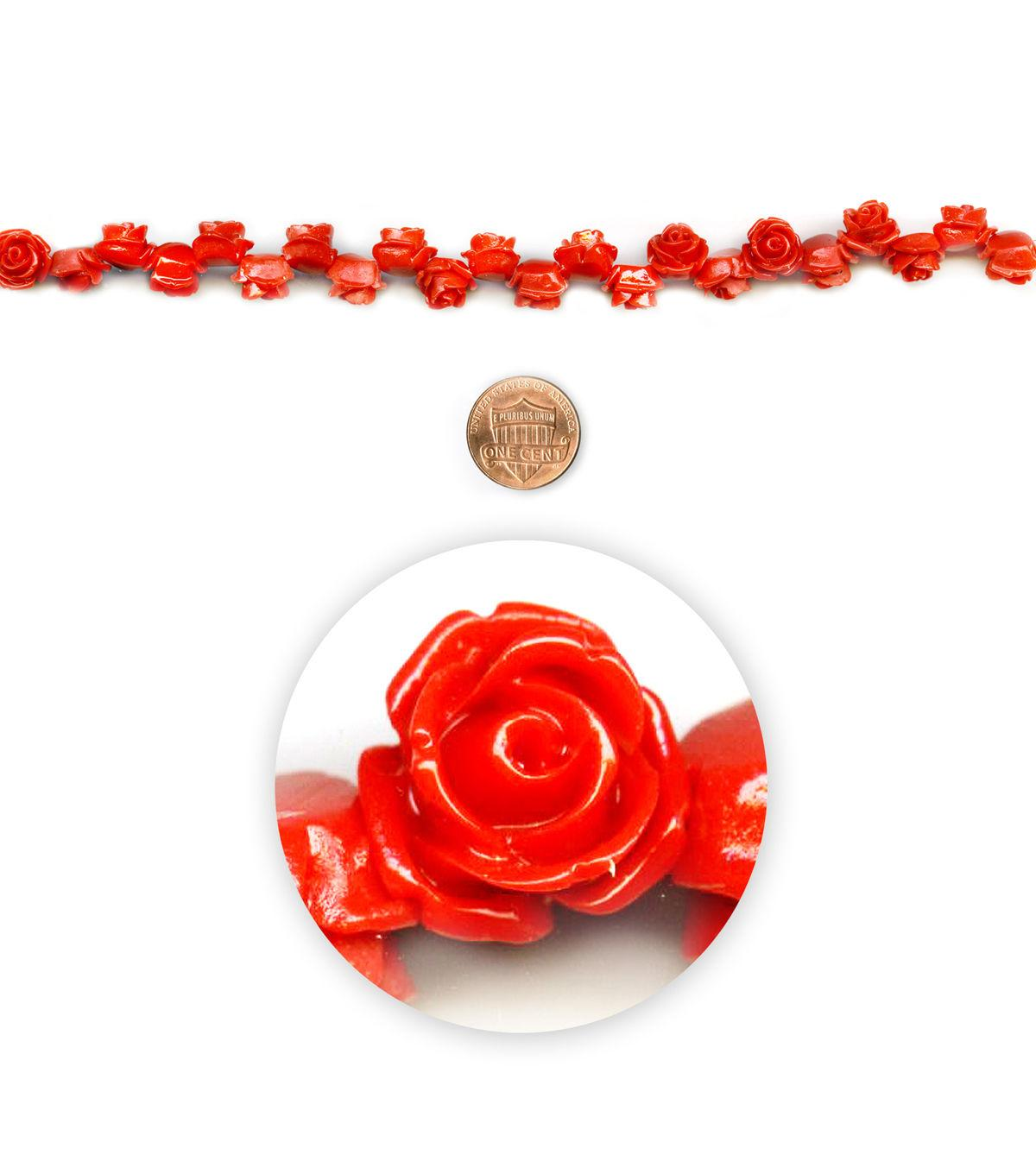 Blue Moon Beads 7 Strand, Acrylic Carved Rose, Red/Coral